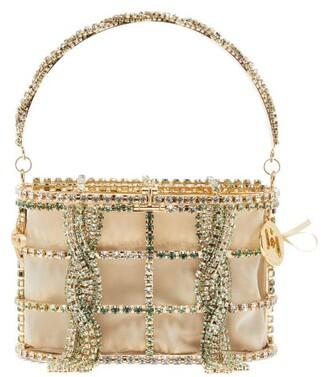 Rosantica Holli Mini Crystal-embellished Cage Clutch Bag - Beige Multi