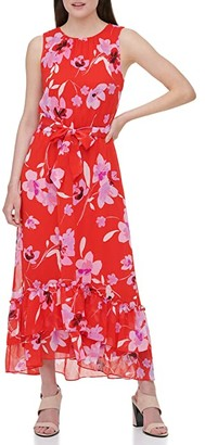 Calvin Klein Sleeveless Printed Dress w/ Belt and Ruffles (Watermelon Wisteria Multi) Women's Clothing