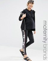 Mama Licious Mama.licious Mamalicious Lounge Over The Bump Printed Leggings With Back Zip Pocket
