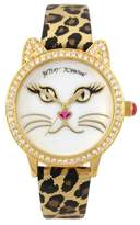 Betsey Johnson Women's Mother of Pearl Cat Watch, 36mm