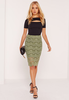 Missguided Corded Lace Midi Skirt Green