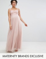 Chi Chi Maternity Chi Chi London Maternity Knot Front Tulle Maxi Dress