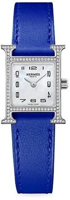 Hermes Heure H Diamond, Steel & Leather Strap Watch
