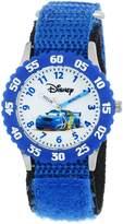 Disney Kids' W000369 Cars Stainless Steel Time Teacher Blue Bezel Blue Velcro Strap Watch