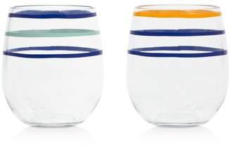 Kate Spade Citrus Twist Stripe Stemless Wine Glasses, Set of 2