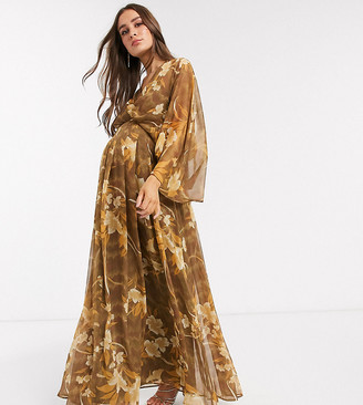 Asos DESIGN Maternity kimono sleeve maxi dress in oversized floral print
