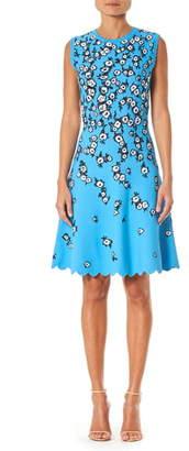 Carolina Herrera Floral Jacquard Scallop Hem Dress