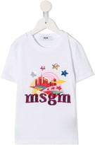MSGM Kids sequinned logo T-shirt