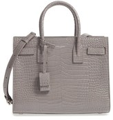 Saint Laurent Baby Sac De Jour Croc Embossed Calfskin Leather Tote - Grey