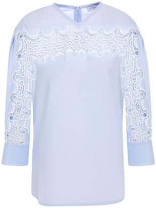 Sandro Pavel Guipure Lace-trimmed Cotton-poplin Top