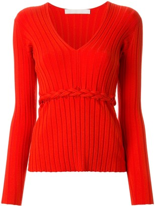 Dion Lee Braid Detail Ribbed Long Sleeved Top