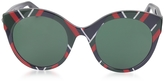 Gucci GG0028S 010 Chevron Acetate Cat Eye Oversized Women's Sunglasses