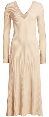AMUR Fawn Rib-Knit V-Neck Midi Dress