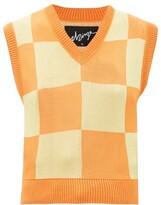 Thumbnail for your product : ELZINGA Checkboard-jacquard Sleeveless Sweater - Orange Multi