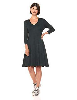 Gabby Skye Women's 3/4 Sleeve V-Neck Sweater Fit and Flare Dress