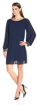 Amy Byer Women's Sheath Dress with Beaded Cuff
