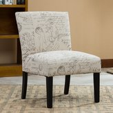 Roundhill Furniture Botticelli English Letter Print Fabric Armless Contemporary Accent Chair, Single