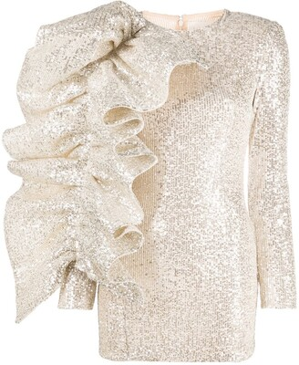 Loulou Ruffle Sleeve Sequin Mini Dress