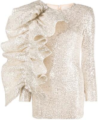 Loulou Ruffle Sleeve Sequin Mini Dress