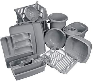 CrazyGadget® 11PC Kitchen Essentials Bumper Plastic Kitchen Starter Sets. Kitchen & Home Plastic Cleaning & Storage Accessories Utensils for First Homes, New Homes, Students - Silver