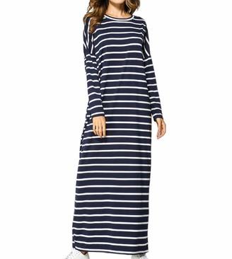 Qianliniuinc Women Muslim Abaya Kaftan Robe - Ladies Long Sleeve Cotton Maxi Dress Oversized Dubai Party Gown 2XL Navy Blue