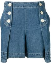 Sacai pleated denim shorts - women - Cotton - 2