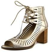 Bella Vita Keaton Women Open Toe Leather Gold Platform Heel.