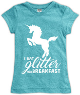 Urban Smalls Aqua 'I Eat Glitter For Breakfast' Fitted Tee - Toddler & Girls