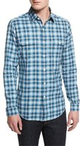 Tom Ford Washed Large-Plaid Twill Sport Shirt, Aqua