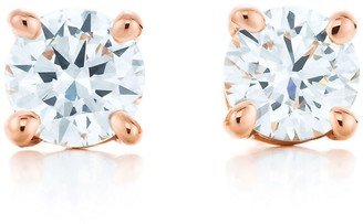 Tiffany & Co. solitaire diamond earrings in 18k rose gold