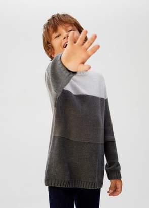 MANGO Tricolor knit sweater medium heather grey - 5 - Kids