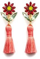 Elizabeth Cole 'Braidynn' Swarovski crystal floral tassel drop earrings
