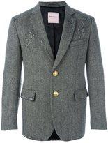 Palm Angels distressed herringbone blazer - men - Cotton/Viscose/Virgin Wool - 46