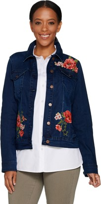 Martha Stewart Floral Embroidered Denim Jean Jacket