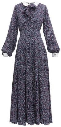 Gül Hürgel Pussy-bow Polka-dot Jersey Maxi Dress - Womens - Blue Print