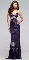Faviana Iridescent Jeweled And Sequined Prom Dress