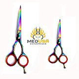 "MeDusa Professional Multicolor Titanium Coated High Quality Japanese Stainless Steel Barber Razor Edge Hair Cutting Shears Scissors Set 5.5"" & 4.5"""