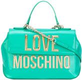 Love Moschino metallic logo fold-over tote