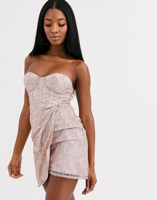 Love Triangle corset detail mini bandeau dress in mink
