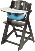 Keekaroo Height Right Highchair with Infant Insert and Tray - Aqua - Espresso Base