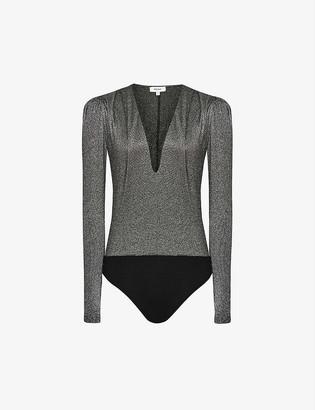 Reiss Rosie metallic stretch-knit body