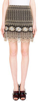 Erdem Mari Metallic Embroidered Mini Skirt, Gold