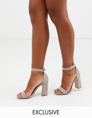 New Look faux suede block heeled sandals in light grey
