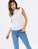 Miss Selfridge Sleeveless Ruffle Shirt