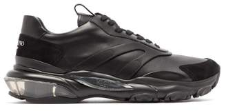 Valentino Bounce Raised Sole Low Top Leather Trainers - Mens - Black