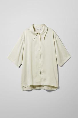 Weekday Lesley Satin Shirt - Green