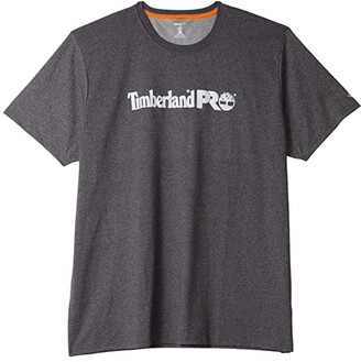 Timberland Extended Base Plate Short Sleeve T-Shirt with Logo (Dark Charcoal Heather) Men's Clothing