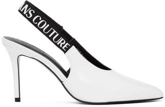 Versace Jeans Couture White Patent Slingback Heels