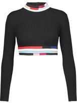 Christopher Kane Cropped Ribbed Wool Turtleneck Sweater