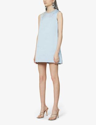 Area Cut-out heart crystal-embellished satin-crepe mini dress